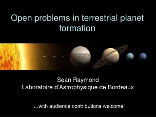 Open problems in terrestrial planet formation