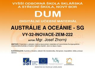 AUSTRÁLIE A OCEÁNIE - SG