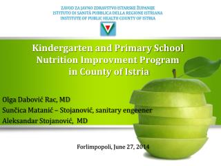 Kindergarten and Primary School Nutrition Improvment Program in County of Istria