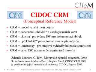 CIDOC CRM   (Conceptual Reference Model)