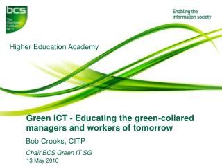 Green ICT - Educating the green-collared  managers and workers of tomorrow