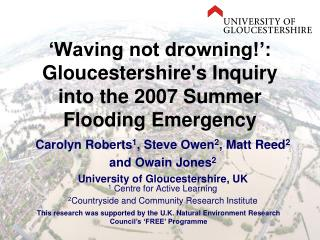 Waving not drowning : Gloucestershires Inquiry into the 2007 Summer Flooding Emergency