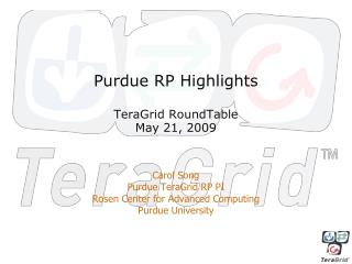 Purdue RP Highlights TeraGrid RoundTable May 21, 2009