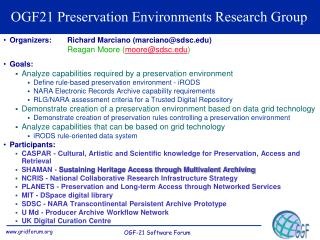 OGF21 Preservation Environments Research Group