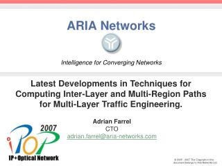 ARIA Networks Intelligence for Converging Networks