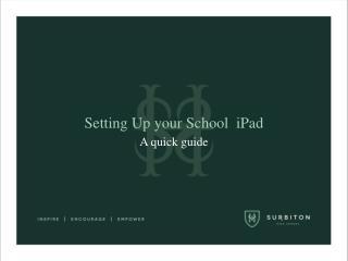 Setting Up your School  iPad