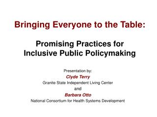 Bringing Everyone to the Table: Promising Practices for  Inclusive Public Policymaking