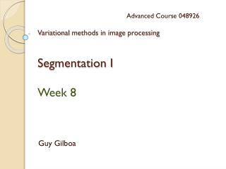 Variational  methods in image  processing Segmentation I Week  8