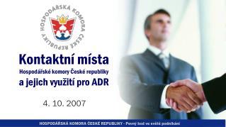 Kontaktní místa  Hospodářské komory České republiky  a jejich využití pro ADR