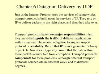 Chapter 6 Datagram Delivery by UDP