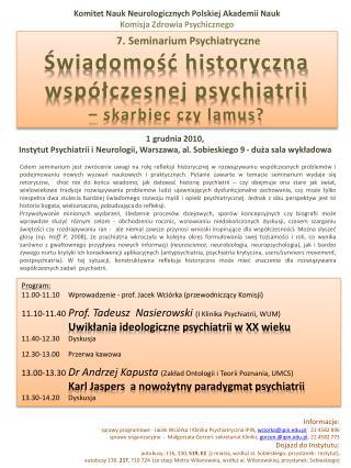 Komitet Nauk Neurologicznych Polskiej Akademii Nauk Komisja Zdrowia Psychicznego