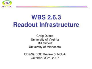 WBS 2.6.3 Readout Infrastructure