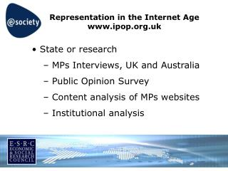 Representation in the Internet Age ipop.uk