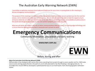 The Australian Early Warning Network (EWN)