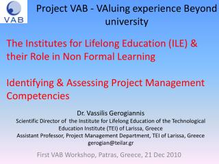 Project VAB - VAluing experience Beyond university