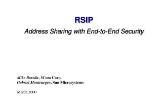 RSIP Address Sharing with End-to-End Security