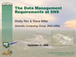 The Data Management Requirements at SNS