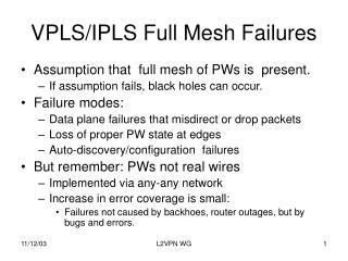 VPLS/IPLS Full Mesh Failures