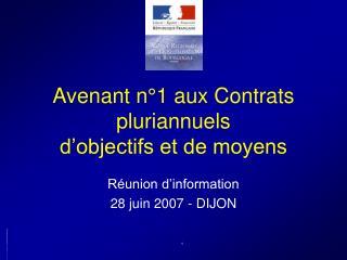 Avenant n°1 aux Contrats pluriannuels  d'objectifs et de moyens