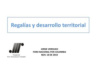 Regalías y desarrollo territorial