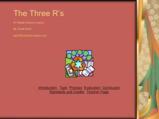The Three R's  4 rd  Grade Science Lesson By: Gisell Groff ggroff@camden.rutgers