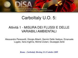 CarboItaly U.O. 5: Attività 1 - MISURA DEI FLUSSI E DELLE VARIABILI AMBIENTALI