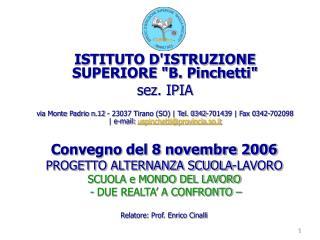 """ISTITUTO D'ISTRUZIONE SUPERIORE """"B. Pinchetti"""" sez. IPIA"""