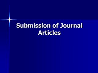 Submission of Journal Articles