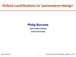 Oxford contributions to 'parameters+design'