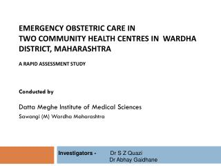 Conducted by Datta Meghe  Institute of Medical Sciences  Sawangi (M) Wardha Maharashtra