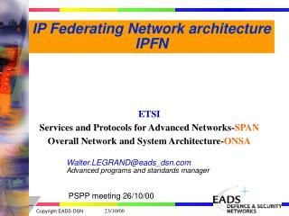 IP Federating Network architecture IPFN