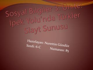 Sosyal Bilgiler 3. Ünite: İpek Yolu'nda Türkler Slayt Sunusu