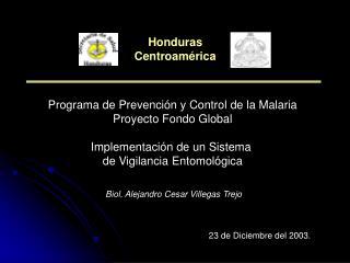 Programa de Prevención y Control de la Malaria Proyecto Fondo Global Implementación de un Sistema