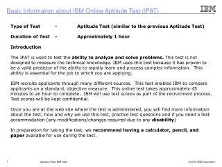 Type of Test	-	Aptitude Test (similar to the previous Aptitude Test)