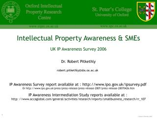 Intellectual Property Awareness & SMEs UK IP Awareness Survey 2006