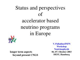 Status and perspective s o f accelerator based  neutrino programs  in Europe