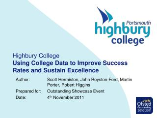 Highbury College Using College Data to Improve Success Rates and Sustain Excellence