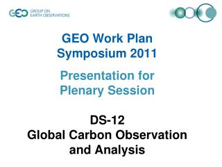 DS-12 Global Carbon Observation and Analysis Definition