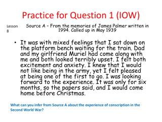Practice for Question 1 (IOW)