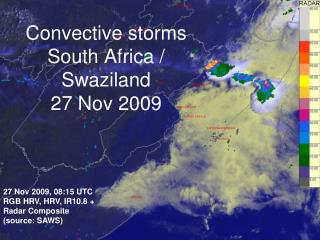 Convective storms South Africa / Swaziland 27 Nov 2009