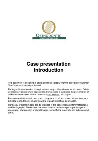 Case presentation Introduction
