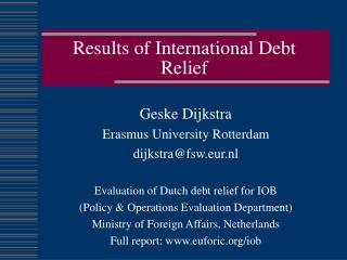 Results of International Debt Relief