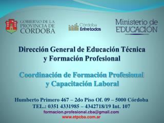Coordinación de Formación Profesional  y Capacitación Laboral