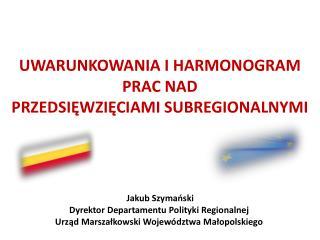 Uwarunkowania i harmonogram prac nad  przedsięwzięciami  subregionalnymi