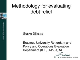 Methodology for evaluating debt relief