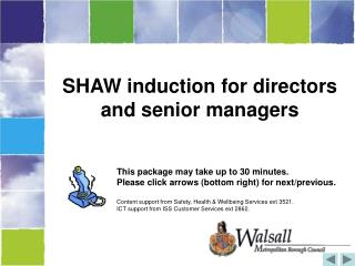 SHAW induction for directors and senior managers