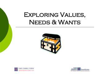 Exploring Values,  Needs & Wants