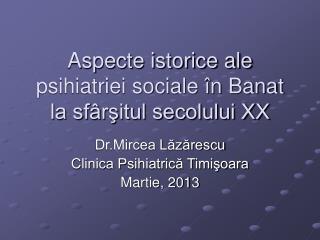 Aspecte istorice ale psihiatriei sociale în Banat la sfârşitul secolului XX