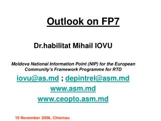 Outlook on FP7
