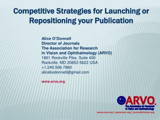 Competitive Strategies for Launching or Repositioning your Publication